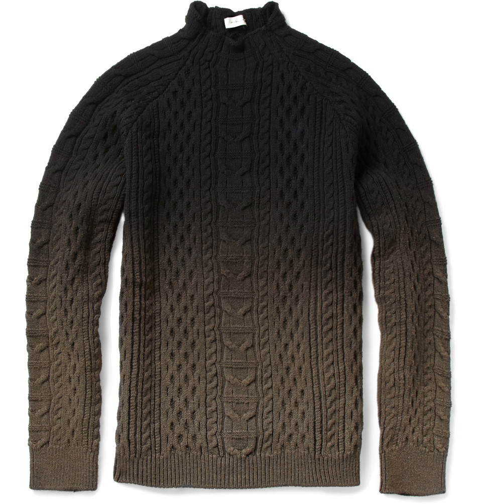 Balenciaga Ombré Aran Knit Sweater in Black for Men | Lyst