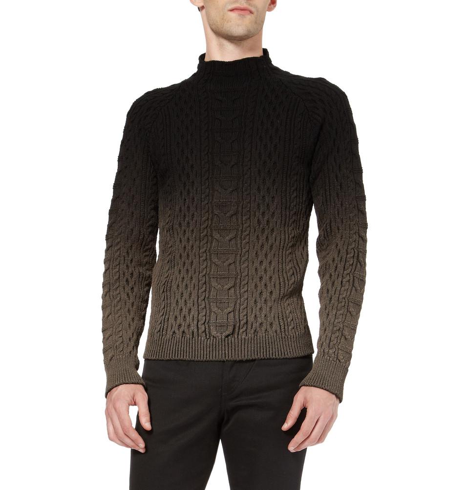 Balenciaga Ombré Aran Knit Sweater in Black for Men - Lyst