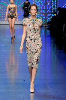 Dolce & Gabbana Spring 2012 Crystal Encrusted Natural Cocktail Dress - Lyst