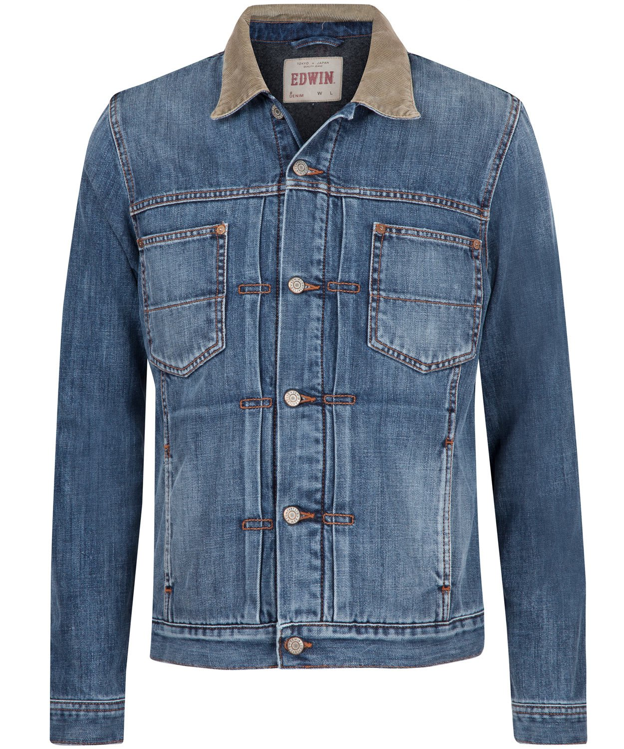 Lyst Edwin Vintage Wash Cord Collar Denim Work Jacket In