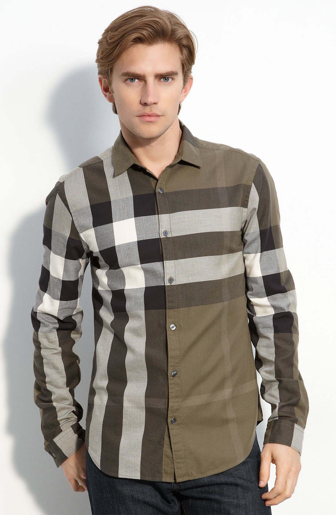 Burberry brit check woven shirt in green for men lyst for Burberry brit checked shirt