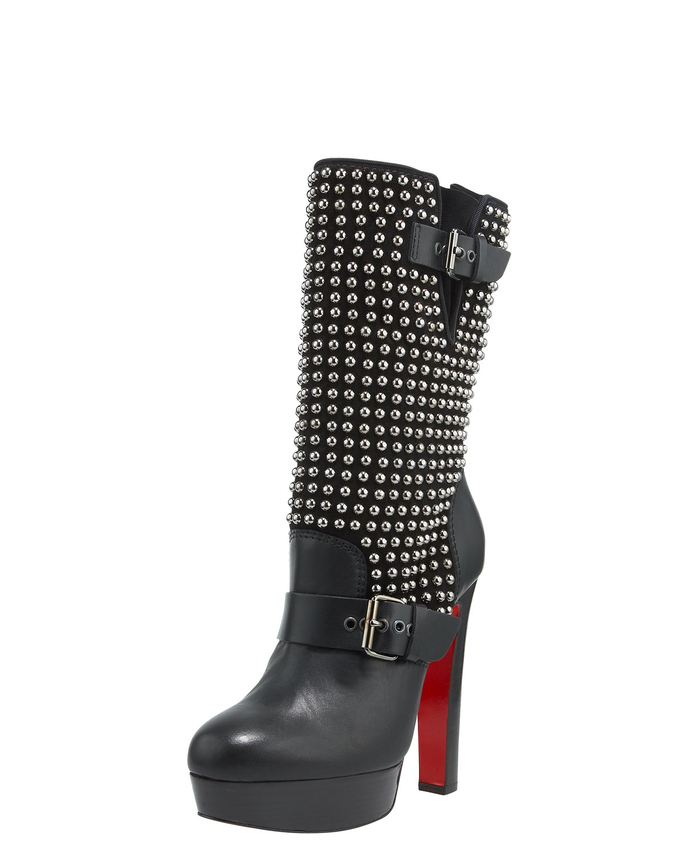 Christian Louboutin Marisa Studded Platform Boot In Black