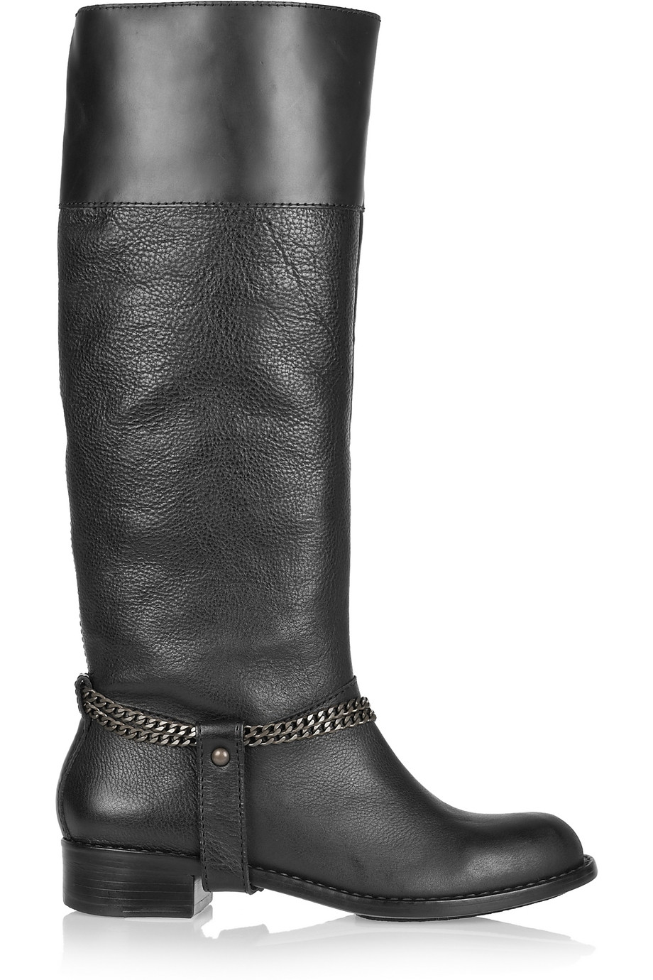 DKNY Megan Chain-embellished Riding Boots in Black