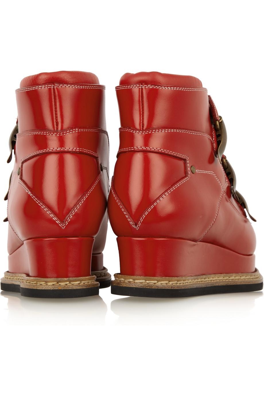 Jil Sander Platform Leather Ankle Boots in Red