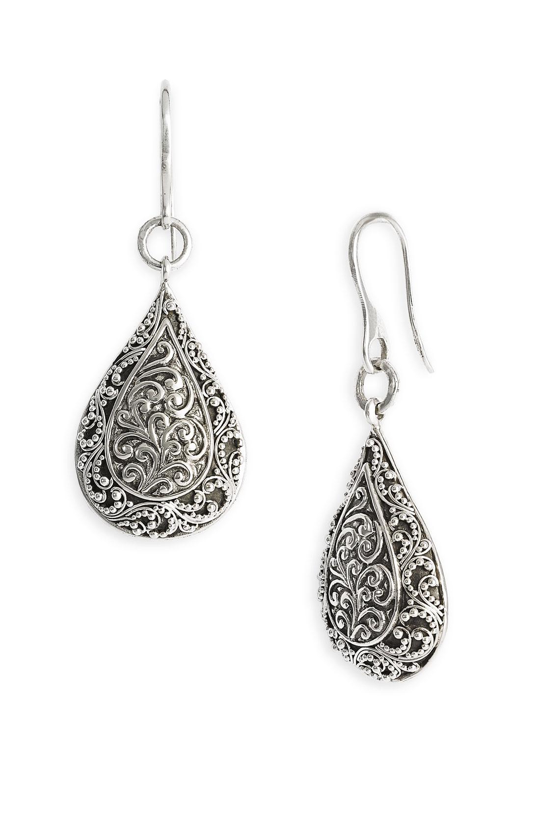 lois hill repousse drop earrings in silver sterling