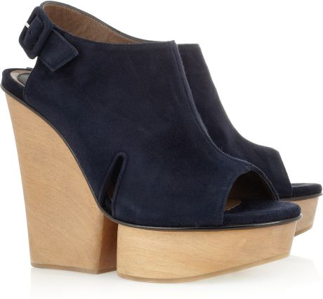 Marni Suede Platform Sandals in Blue (navy)