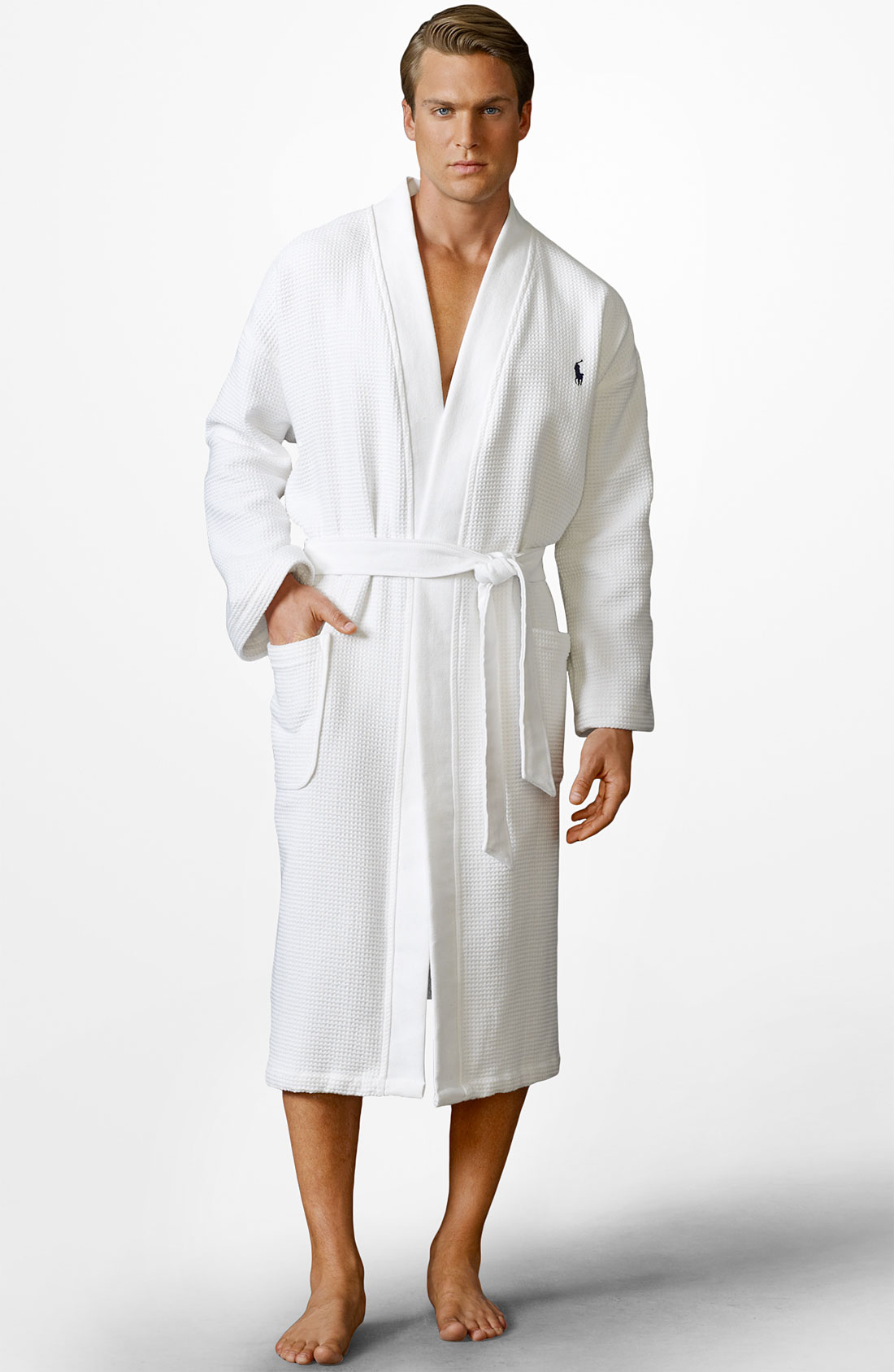 polo ralph lauren towelling dressing gown in white for men lyst. Black Bedroom Furniture Sets. Home Design Ideas