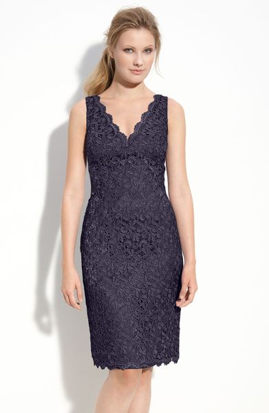 adrianna papell lace sheath dress in blue navy lyst