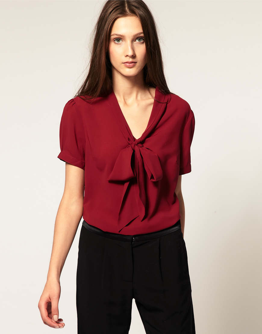 1342d4444b ASOS Collection Asos Pussybow Short Sleeve Blouse in Red - Lyst