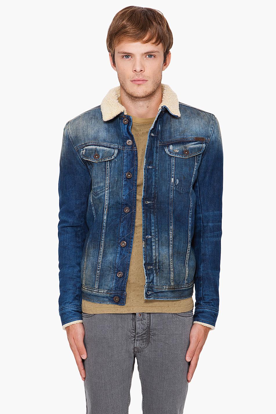 Lyst - Diesel Faux Fur-Lined Denim Jacket In Blue For Men
