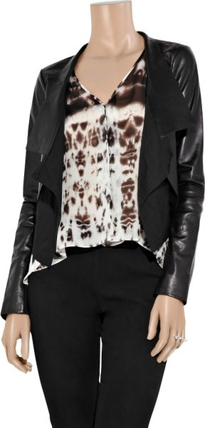 Max Azria Cotton Paneled Leather Jacket In Black Lyst