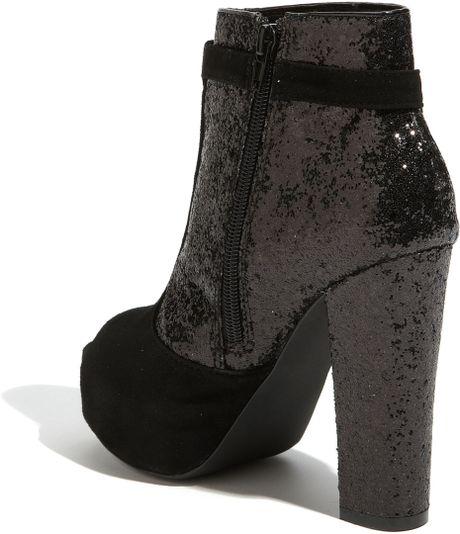 93a89454a0a Black Platform Sandals: Steve Madden Glitter Ankle Boot