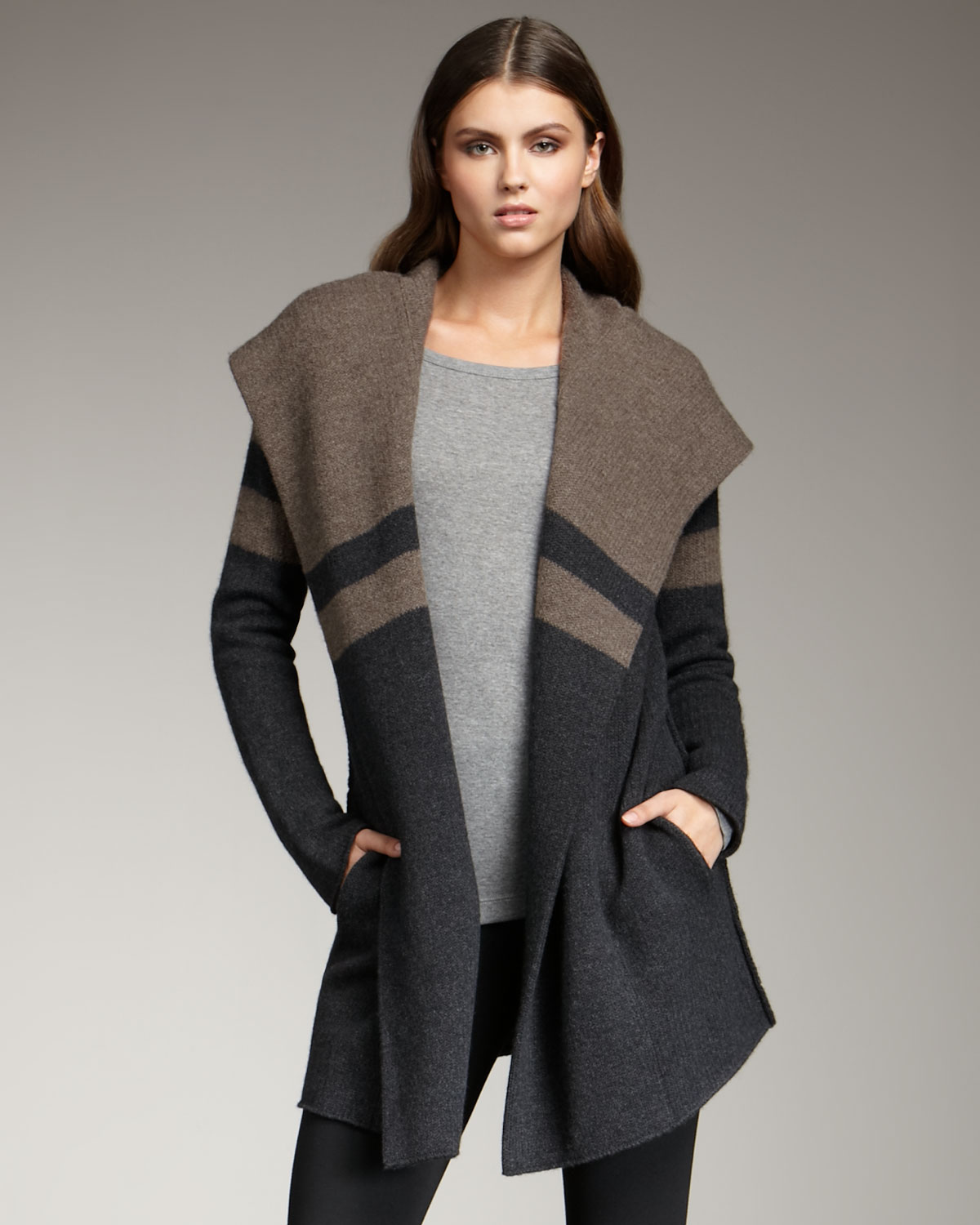 VINCE GRAY COLORBLOCK SWEATER JACKET on The Hunt