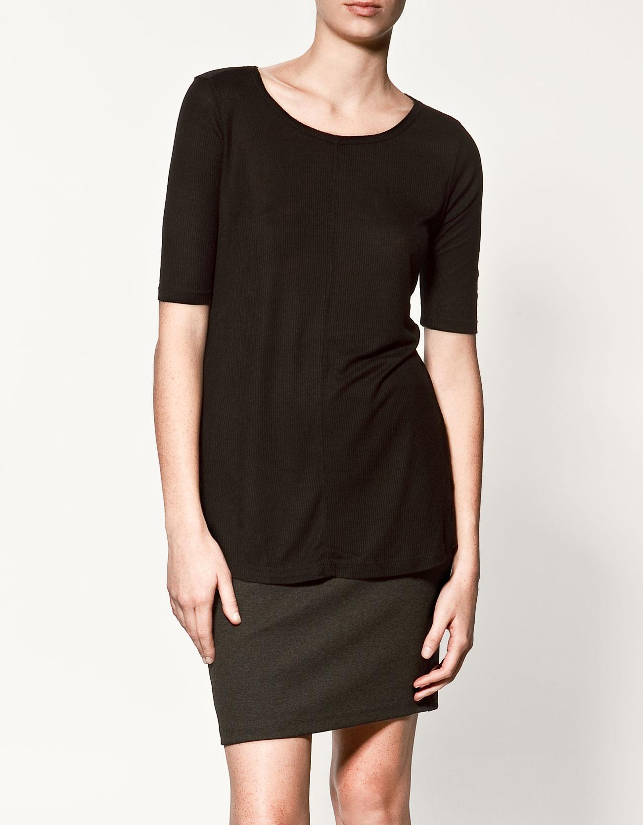 Zara basic t shirt in black lyst for Zara mens shirts sale