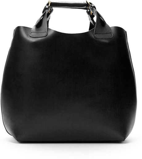 Zara Plaited Shopper in Black - Lyst
