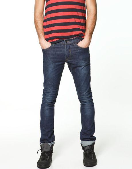 zara coloured skinny jeans in blue for men lyst
