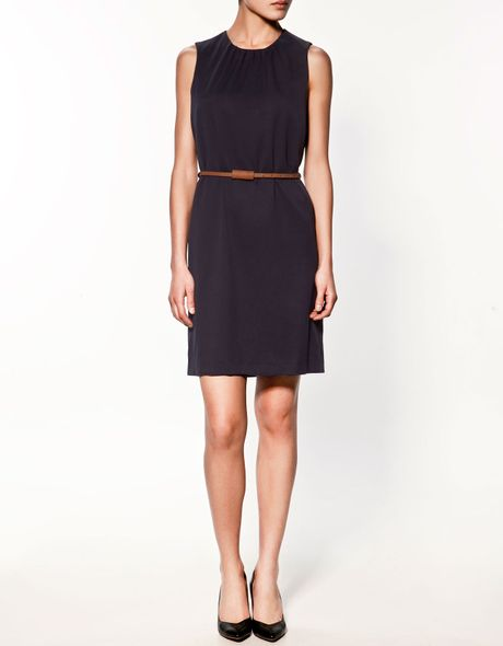 Zara Dress with Belt in Blue - Lyst