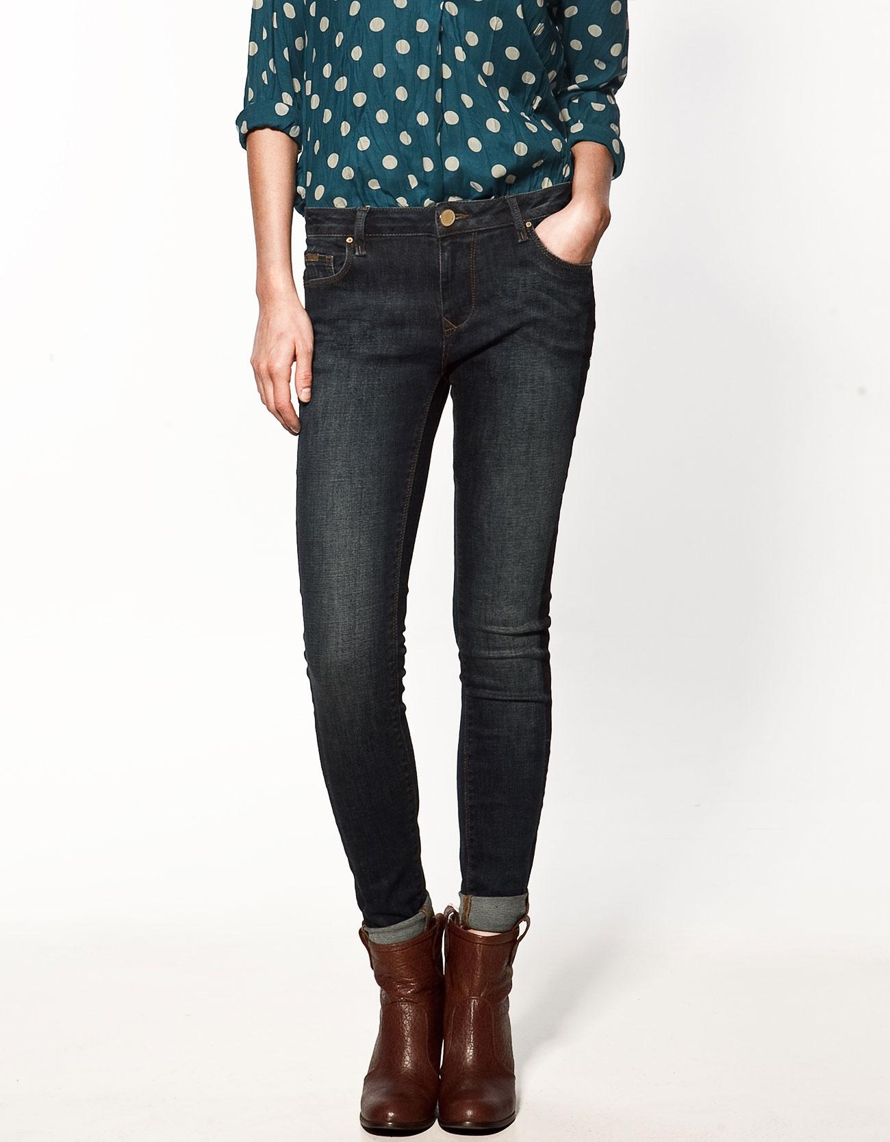 Zara Jeans With Side Stripe In Blue Lyst