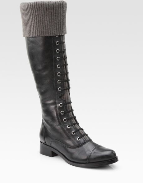 cole haan air whitley leather knit cuff knee high boots in