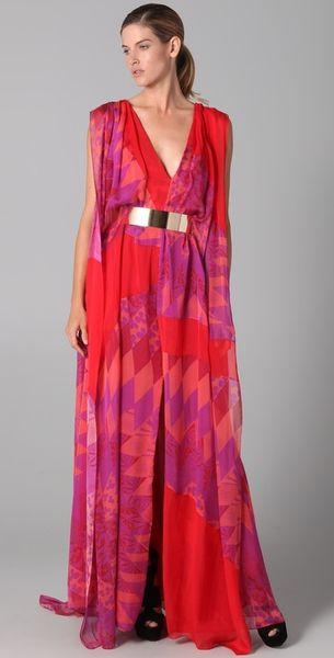 Matthew Williamson Harlequin Chiffon Sail Gown in Multicolor (pink multi)