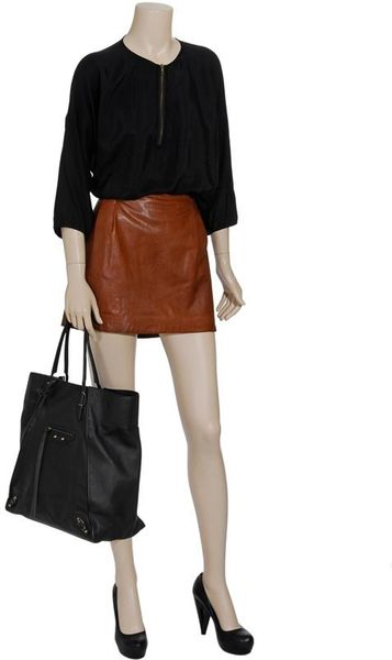 vince leather mini skirt in brown lyst