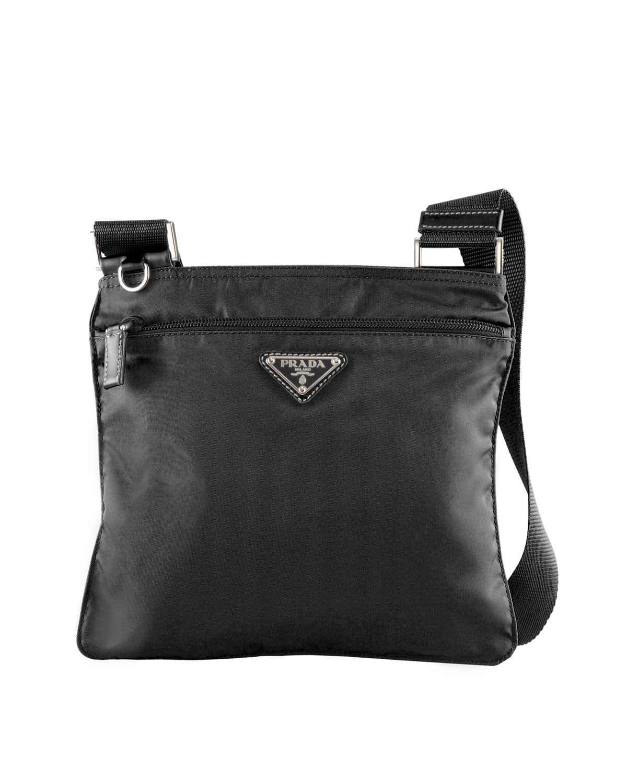 a2e59173ba ... clearance lyst prada vela flat messenger bag in black db929 79411