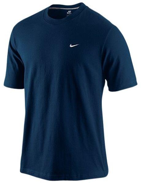 nike short sleeve crew t shirt navy in blue for men navy