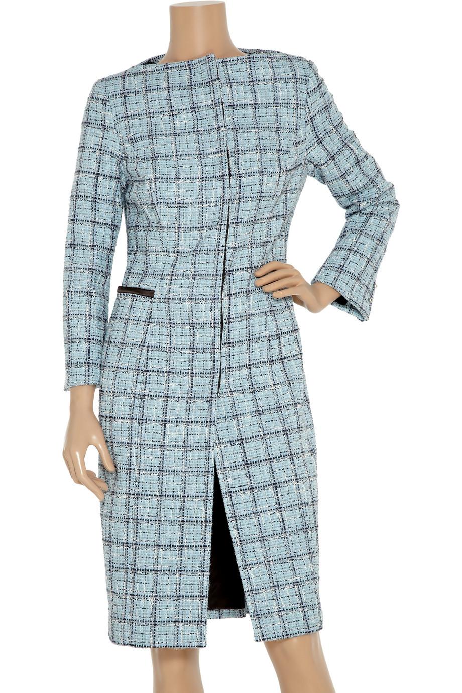 Lyst Carolina Herrera Plaid Cotton Blend Coat In Blue