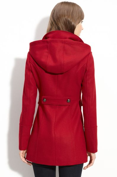 Guess Wool Blend Coat With Detachable Hood In Red Rouge