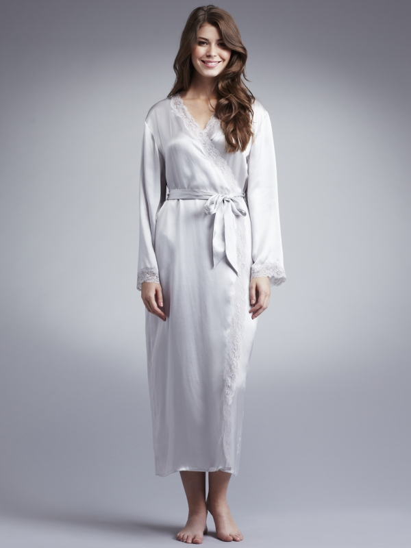 John Lewis Women Long Silk Dressing Gown Light Grey in Gray - Lyst