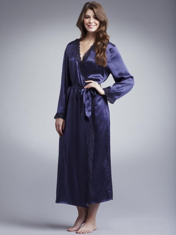 John Lewis Women Long Silk Dressing Gown Midnight Blue in Blue - Lyst