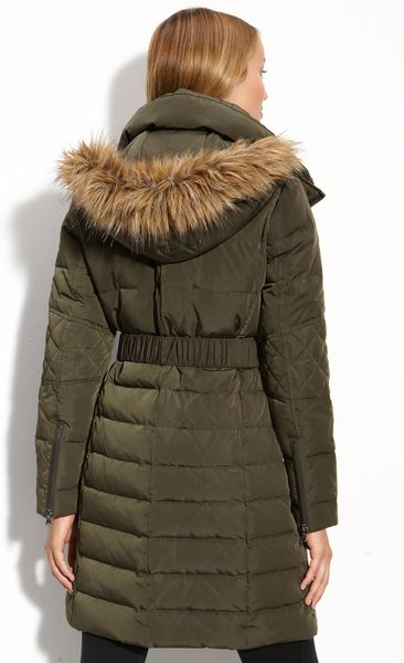 Kenneth Cole Quilted Coat With Detachable Hood In Green