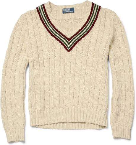 Knitting Pattern For Cricket Sweater : Polo Ralph Lauren Cable Knit Cricket Sweater in Beige for Men (brown) Lyst