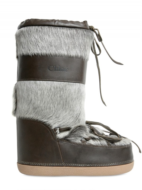 Chlo 233 Calf Fur Moon Boot Boots In Green Gray Lyst