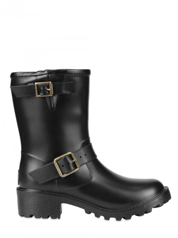 Dav Solid Moto Rubber Boots In Black Lyst