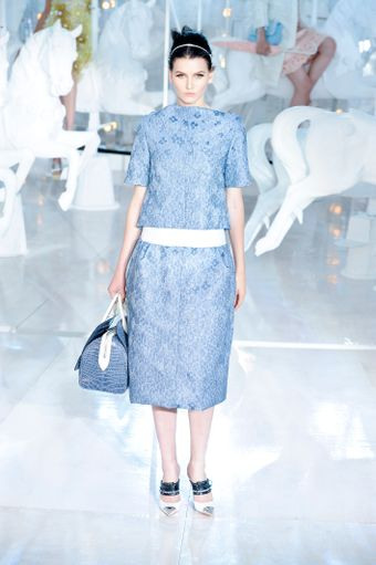 Louis Vuitton Spring 2012 Blue Flower Pattern Cropped Short Sleeve Top - Lyst