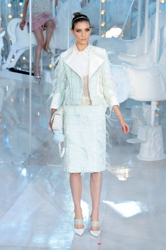 Louis Vuitton Spring 2012 Ombré Feather Trimmed Jacket - Lyst