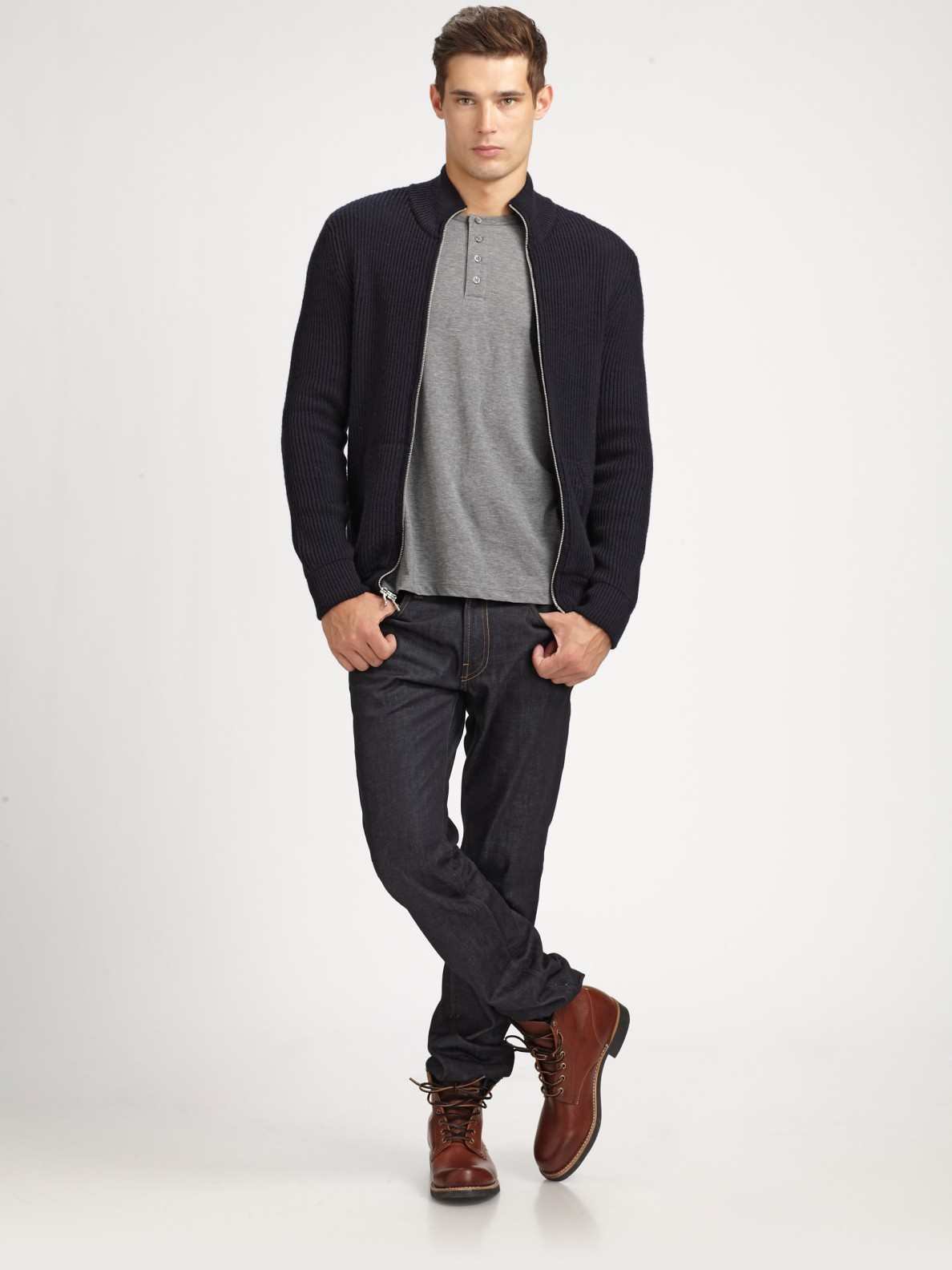 Vince Wool Zip-up Sweater in Black for Men | Lyst