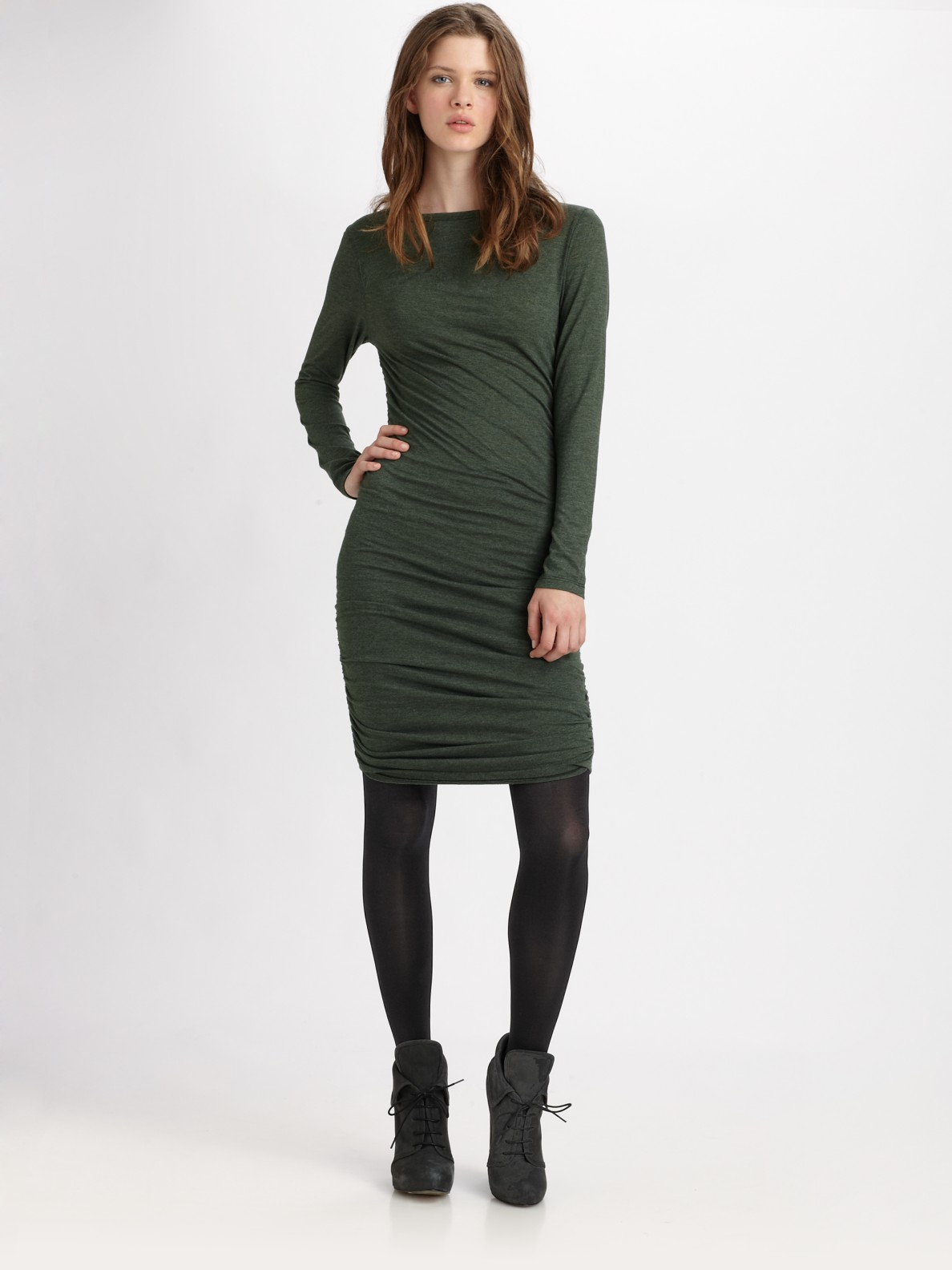 Lyst Clu Ruched Long Sleeve T Shirt Dress In Green