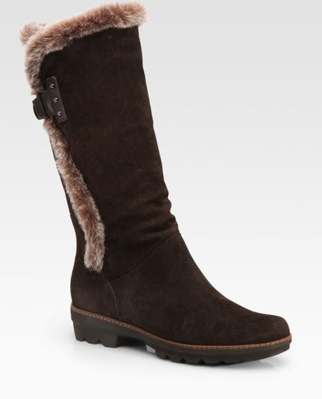 aquatalia by marvin k shearling suede mid calf boots in