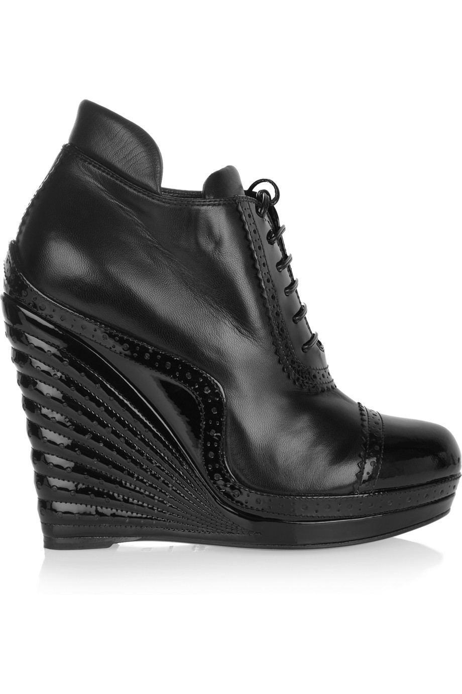 laurent leather and patent leather wedge ankle boots