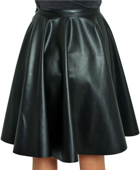 amen eco leather circle skirt in black lyst