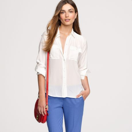 J Crew White Silk Blouse 52