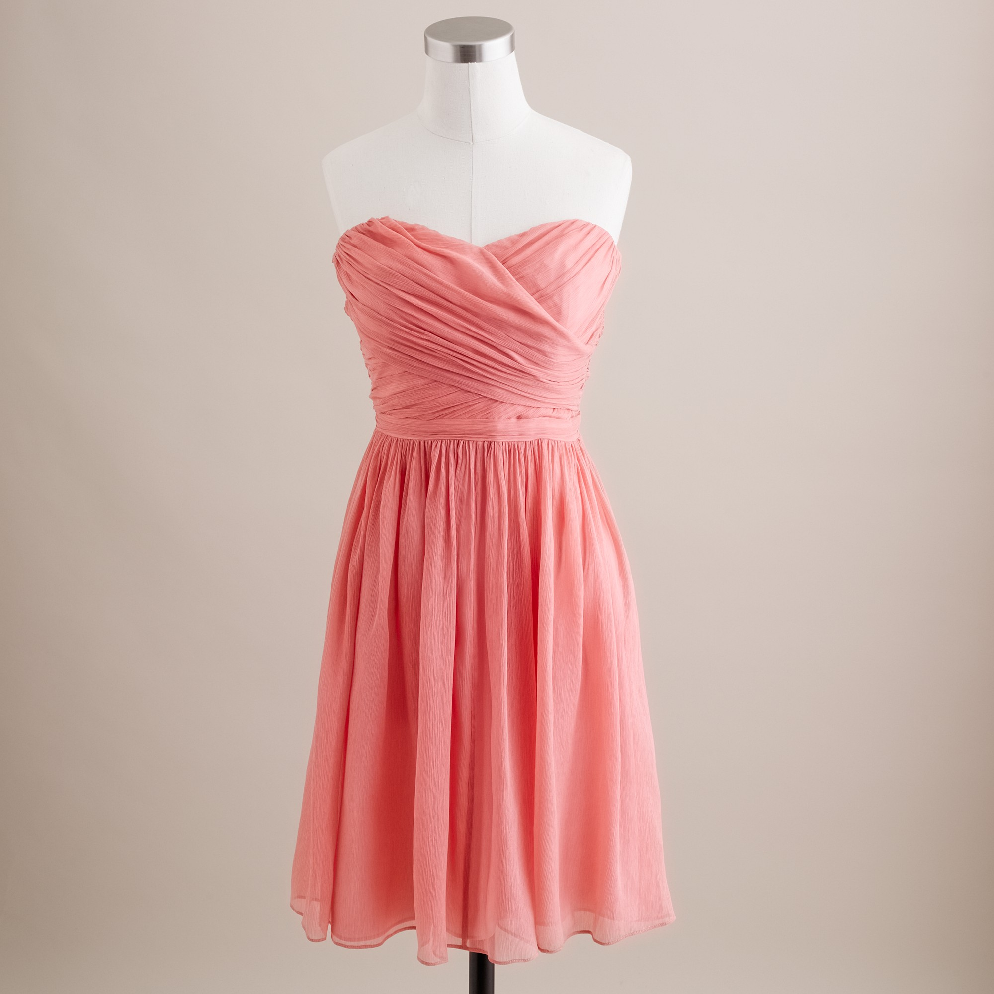 J.crew Arabelle Dress In Silk Chiffon In Pink (bright