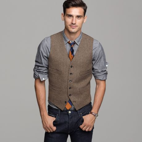 Harvest herringbone vest in brown for men brown for J crew mens looks