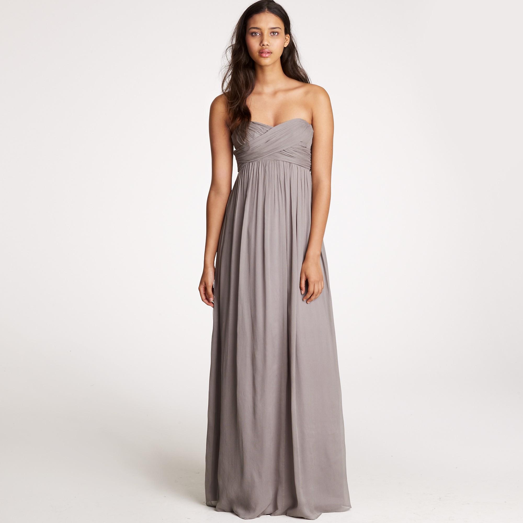 ec373872d788c J.Crew Taryn Long Dress in Silk Chiffon in Gray - Lyst
