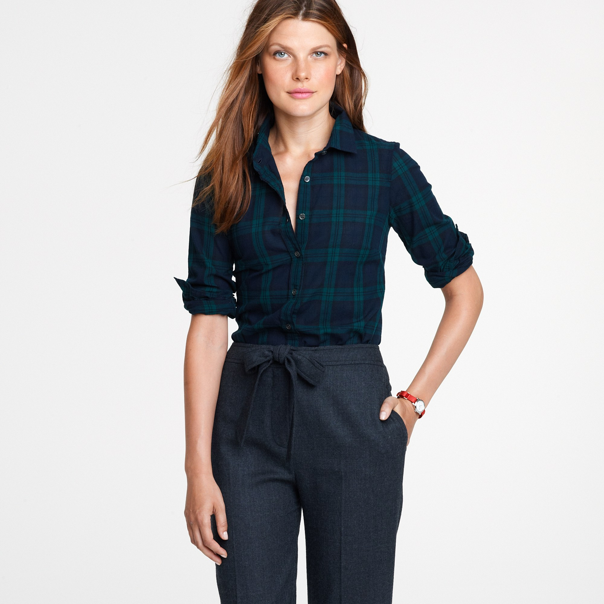 lyst j crew perfect shirt in blackwatch plaid in blue