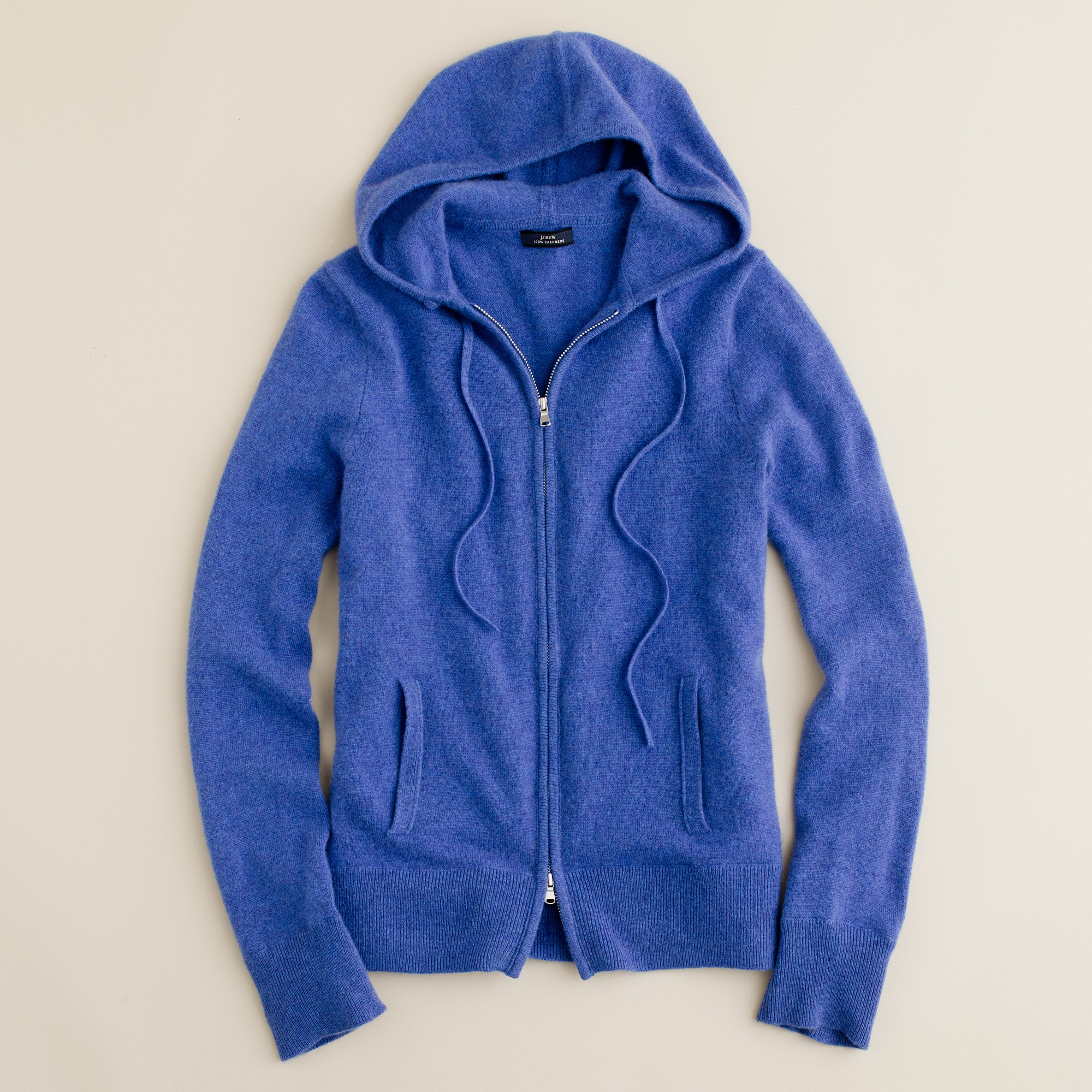J.crew Cashmere Zip-front Hoodie in Blue