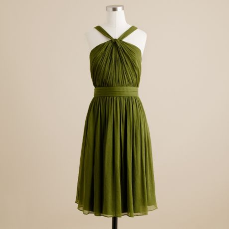 J.crew Sinclair Dress in Silk Chiffon in Green (jalapeno) - Lyst