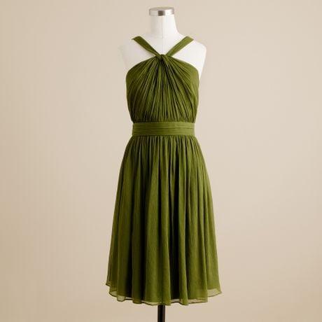J.crew Sinclair Dress in Silk Chiffon in Green (jalapeno)